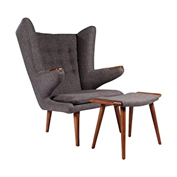 Amazoncom Papa Bear Chair w Ottoman Charcoal Grey Wegner