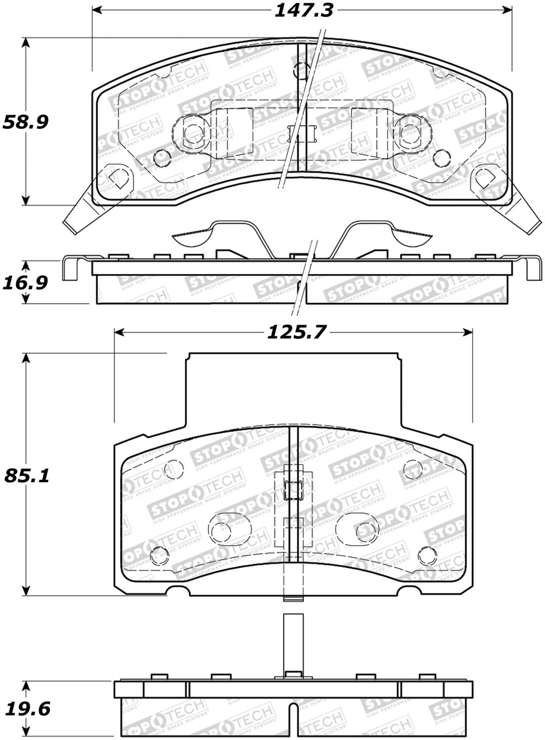 StopTech 308.04590 Street Brake Pads; Front with Shims and Hardware