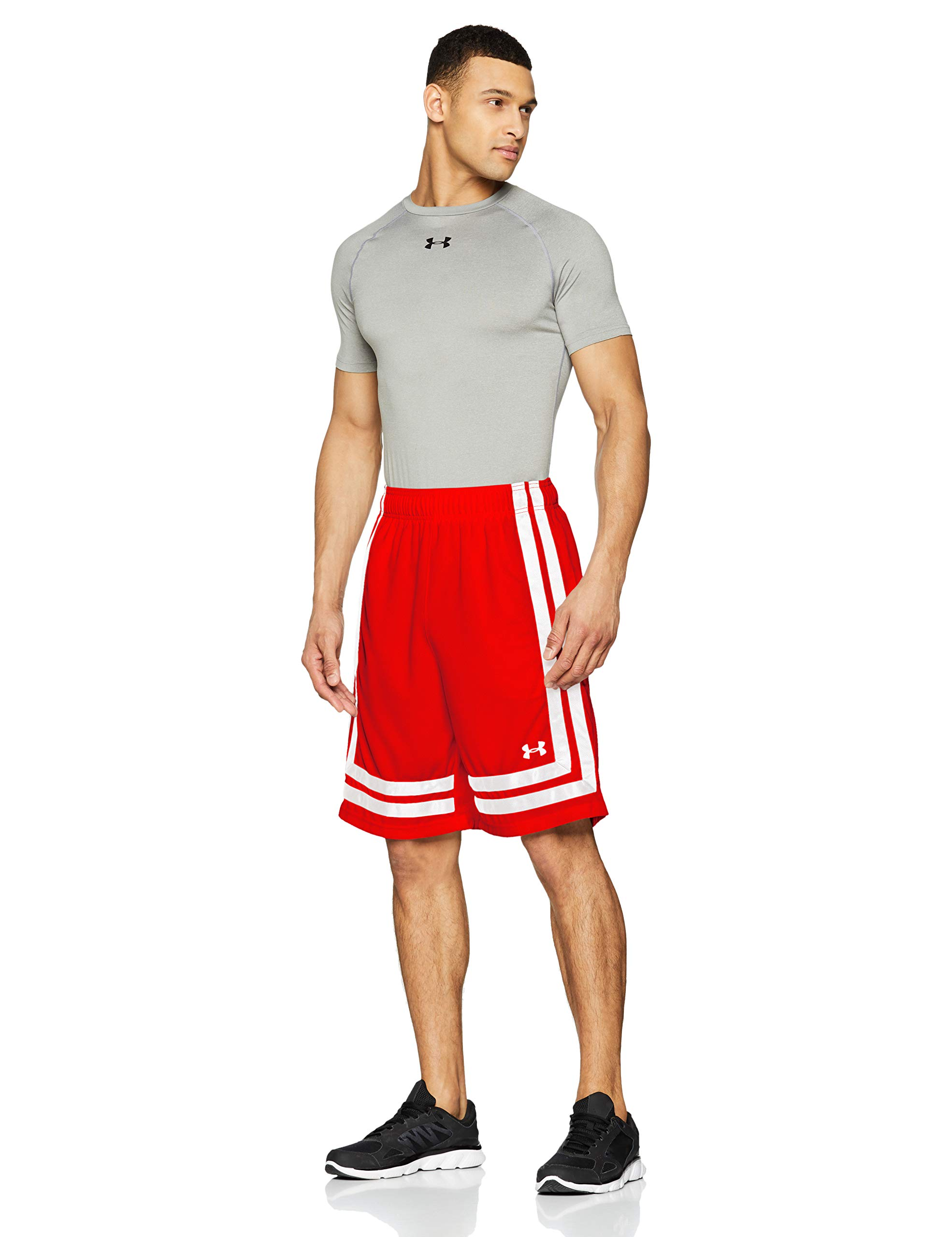 Under Armour Men's Baseline 10'' Shorts, Red (600)/White, Large by Under Armour