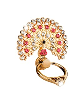 Dolloress Luxury Peacock Crystal Mobile Phone Holder Watch Shape Metal Finger Ring Stand Holder Phone Bracket (Red)