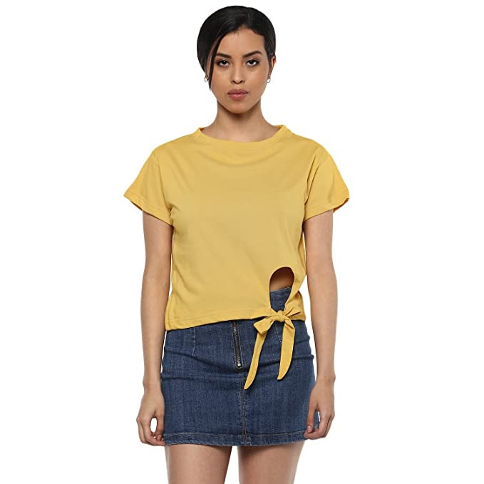 e9ccab85 fabula Women's Plain Yellow Cotton Crop TOP with Round Neck and Short Sleeve:  Amazon.in: Clothing & Accessories