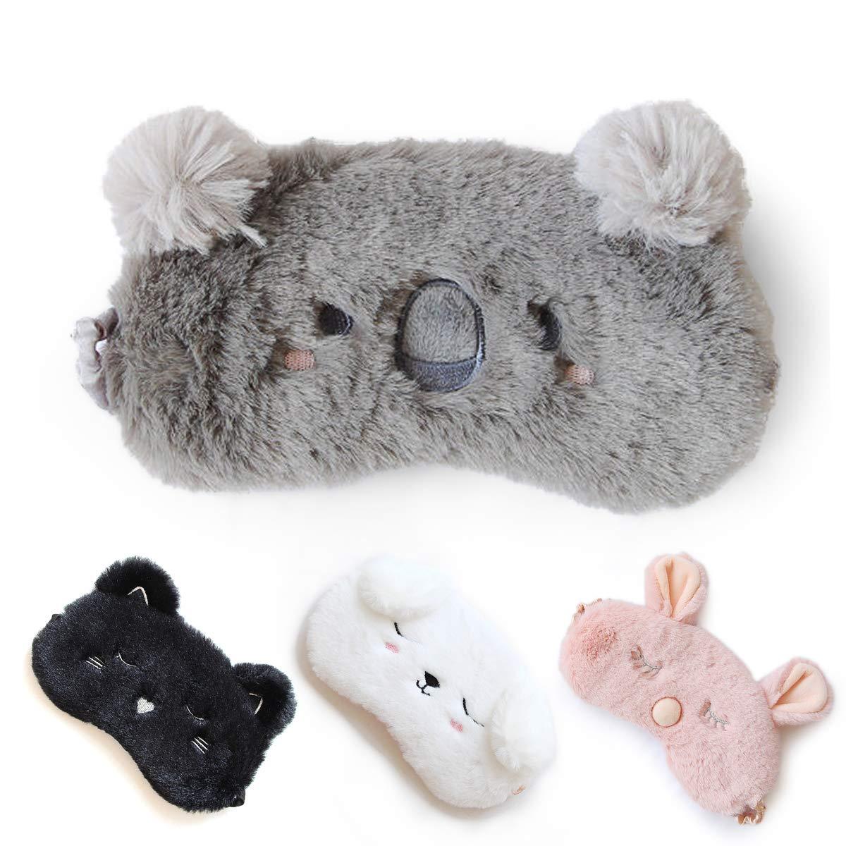 Cute Sleep Mask - Soft and Comfortable Animal Plush Blindfold Eye Cover for Kids Girls Women, Great Eyeshade for Travel, Shift Work, Meditation, Washable (Black) HOMEWINS