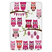 Bathroom Bath Rug Kitchen Floor Mat Carpet,Nursery,Girl Baby Shower Themed Owls and Branches Adorable Cartoon Animal Characters,Purple Pink Brown,Flannel Microfiber Non-slip Soft Absorbent