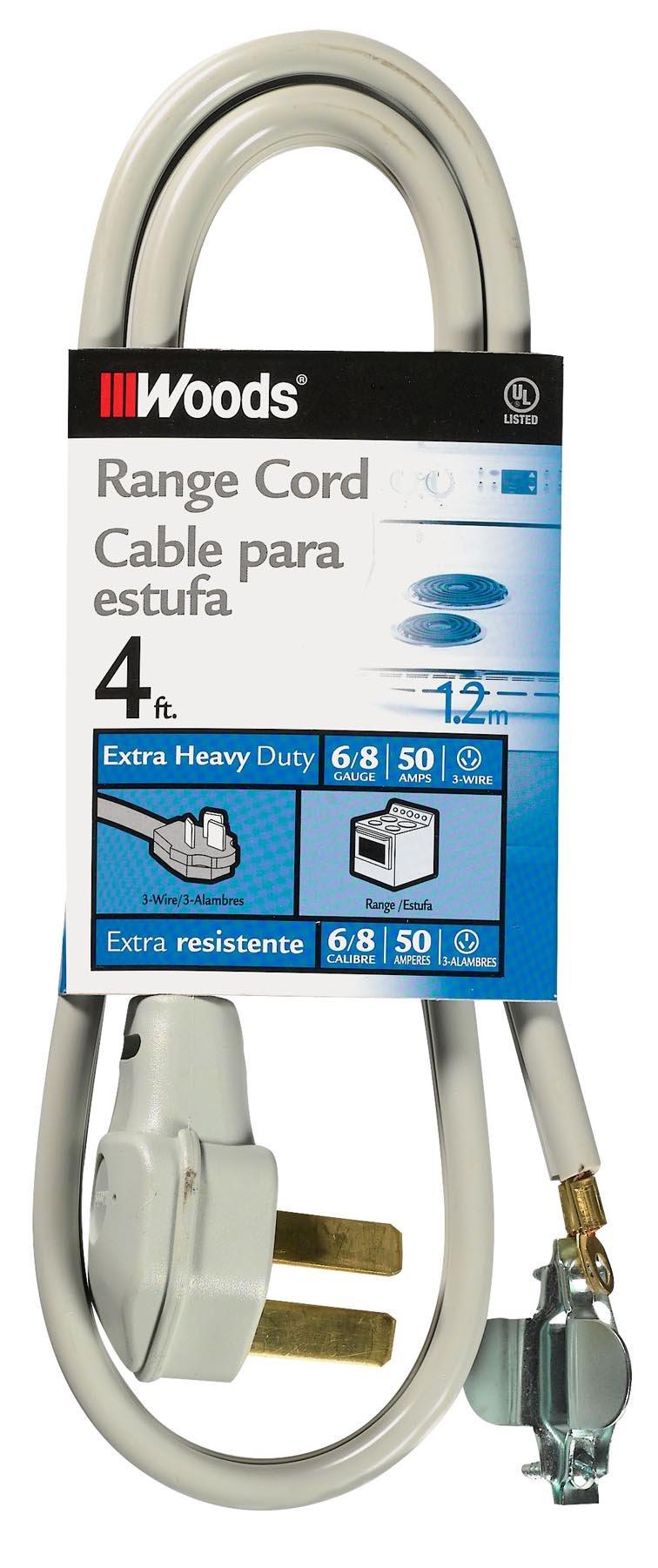 Woods 0984 6/2  8/1 SRDT 50-Amp Range Appliance Power Supply Cord, Grey