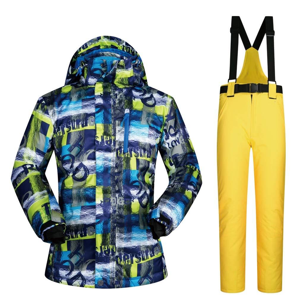Aszhdfihas Skianzug Anzug Männlichen Outdoor Winter Furnier Doppelbrett Winddicht Wasserdicht Warme Skikleidung Schneeanzug Winter (Farbe   C4, Größe   XXXL)