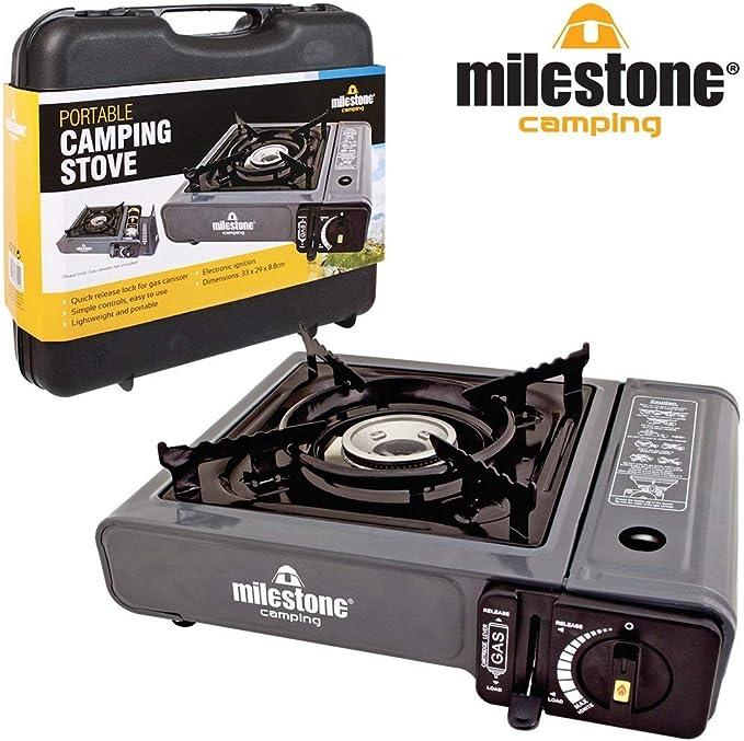 Hornillo de Gas portátil Milestone Camping - Negro