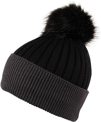 Ladies Womens  Bobble Hats winter faux fur Ribbed Beanie Pom Pom Hat Shine