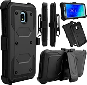 Venoro Galaxy J3 2018 Case, Galaxy J3 Orbit Case, Heavy Duty Shockproof Full Body Protection Rugged Hybrid Case Cover with Swivel Belt Clip and Kickstand for Samsung Galaxy J3 Achieve (Black)
