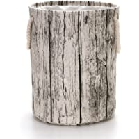 """VuHom Tree Stump Hamper19.7 Large Laundry Hamper (Available 19.7"""" and 15.7""""), Drawstring Waterproof Round Cotton Linen Collapsible Storage Basket with Cotton Rope Handles"""