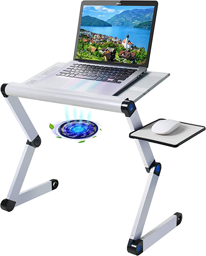 Adjustable Foldable Laptop Notebook Computer Table Cooler Bed Tray Radiating Cooling Stand with Cooling Fan Mouse Pad