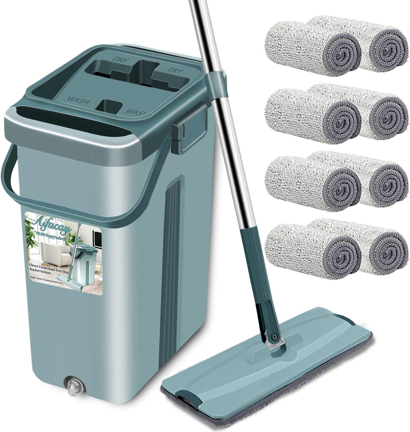 Aifacay Floor Mop with Bucket Upgrade Hands-Free Squeeze Microfiber Mop System 360° Flexible Head Mop with 8 Reusable Microfiber Pads, 59.8'' Extended Stainless Steel Handle for Floor Cleaning