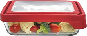 Anchor Hocking TrueSeal Glass Food Storage Container with Lid, Cherry, 6 Cup -