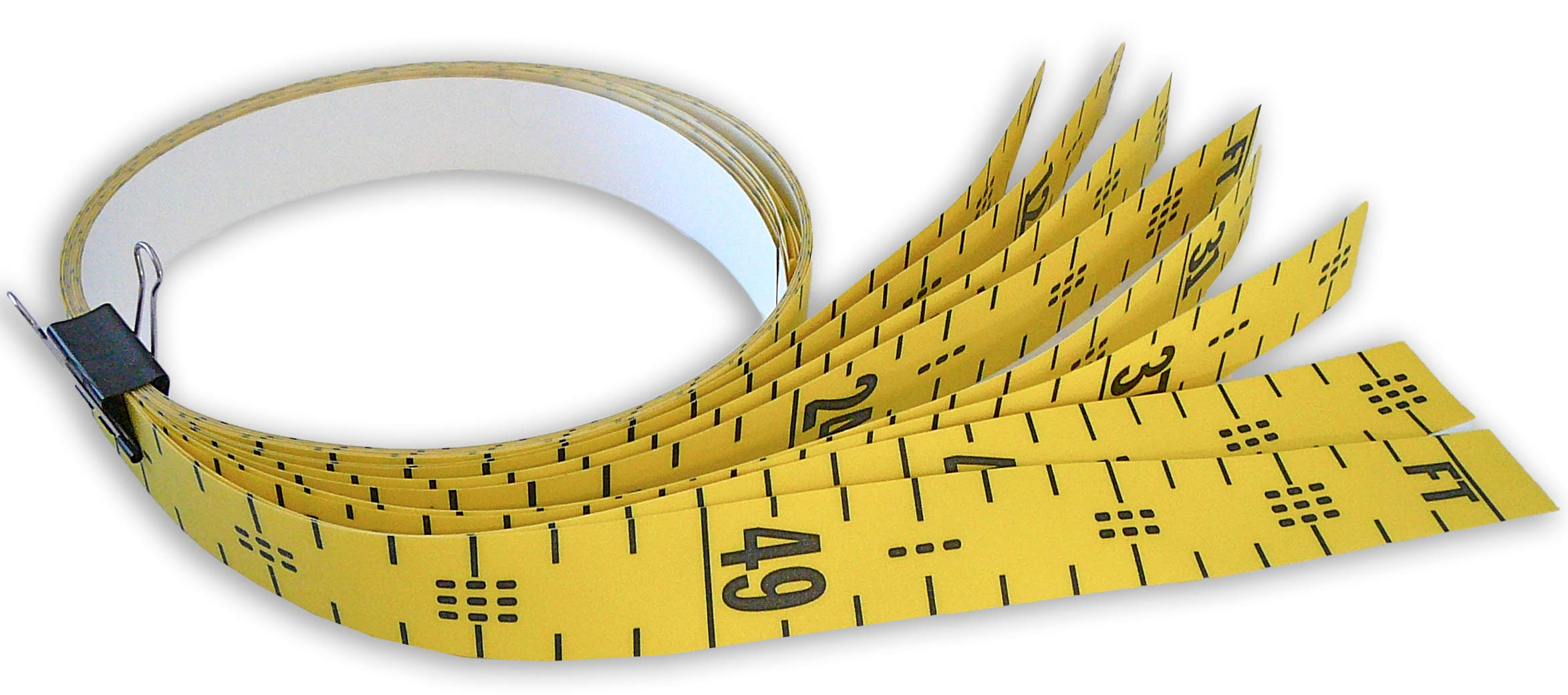 Floor Tape - Adhesive Backed - 2 Inch Wide X 50 Foot Long - Vertical Up - Fractional - 1'' Grads - Yellow - 8 Pieces by Oregon Rule Co.