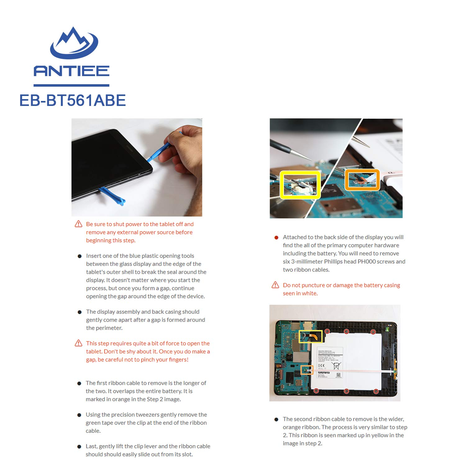 ANTIEE Tablet EB-BT561ABE Battery for Samsung Galaxy Tab E 9.6 T560 T561 SM-T560 SM-T565 WiFi SM-T561Y SM-T561M EB-BT561ABA With Tools 3.8V 5000mAh SM-T561 3G /& WiFi US /& Canada