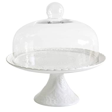 Jusalpha White Porcelain Decorative Cake Stand-Cupcake Stand (Glass dome)