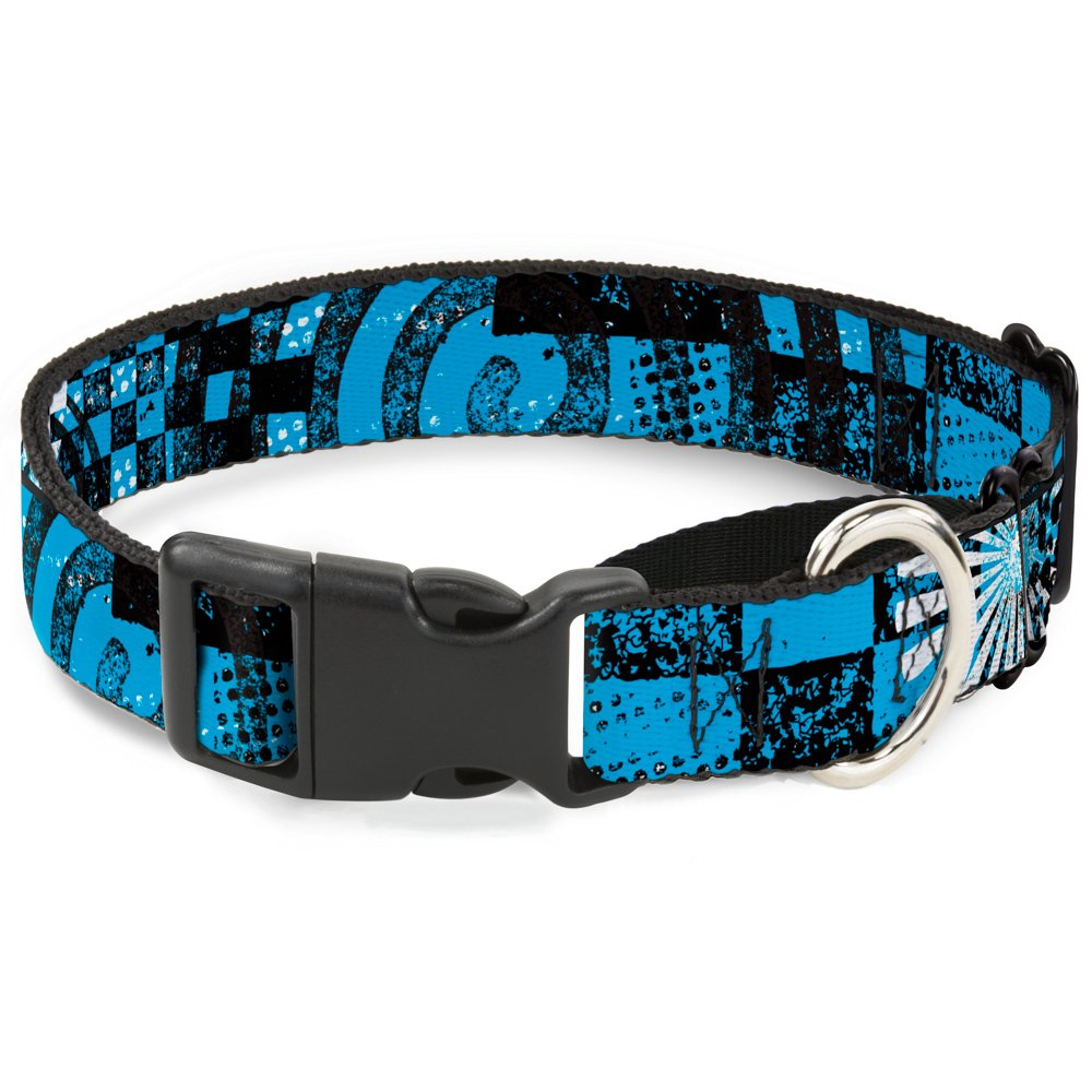 Buckle-Down Grunge Chaos bluee Martingale Dog Collar, 1  Wide-Fits 11-17  Neck-Medium