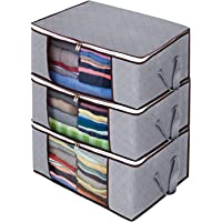 Foldable Storage Bag Set of 3 Large Foldable Clothes Organizer Clear Window Carry Handles Great for Clothes Blankets…