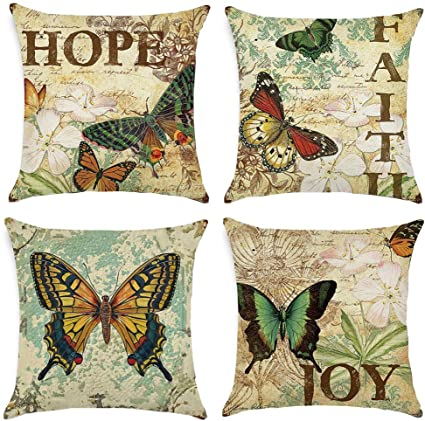 Freeas Cushion Covers Set Of 4 Multi Butterfly Pattern Square Throw Pillow Case For Sofa Bedroom Car 18 X 18 Inch 45x 45cm Amazon Co Uk Kitchen Home
