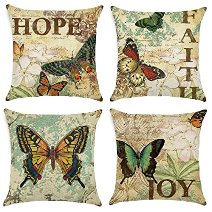 Gspirit 4 Pack clásico Mariposa Algodón Lino Throw Pillow Case Funda de Almohada para Cojín 45x45 cm