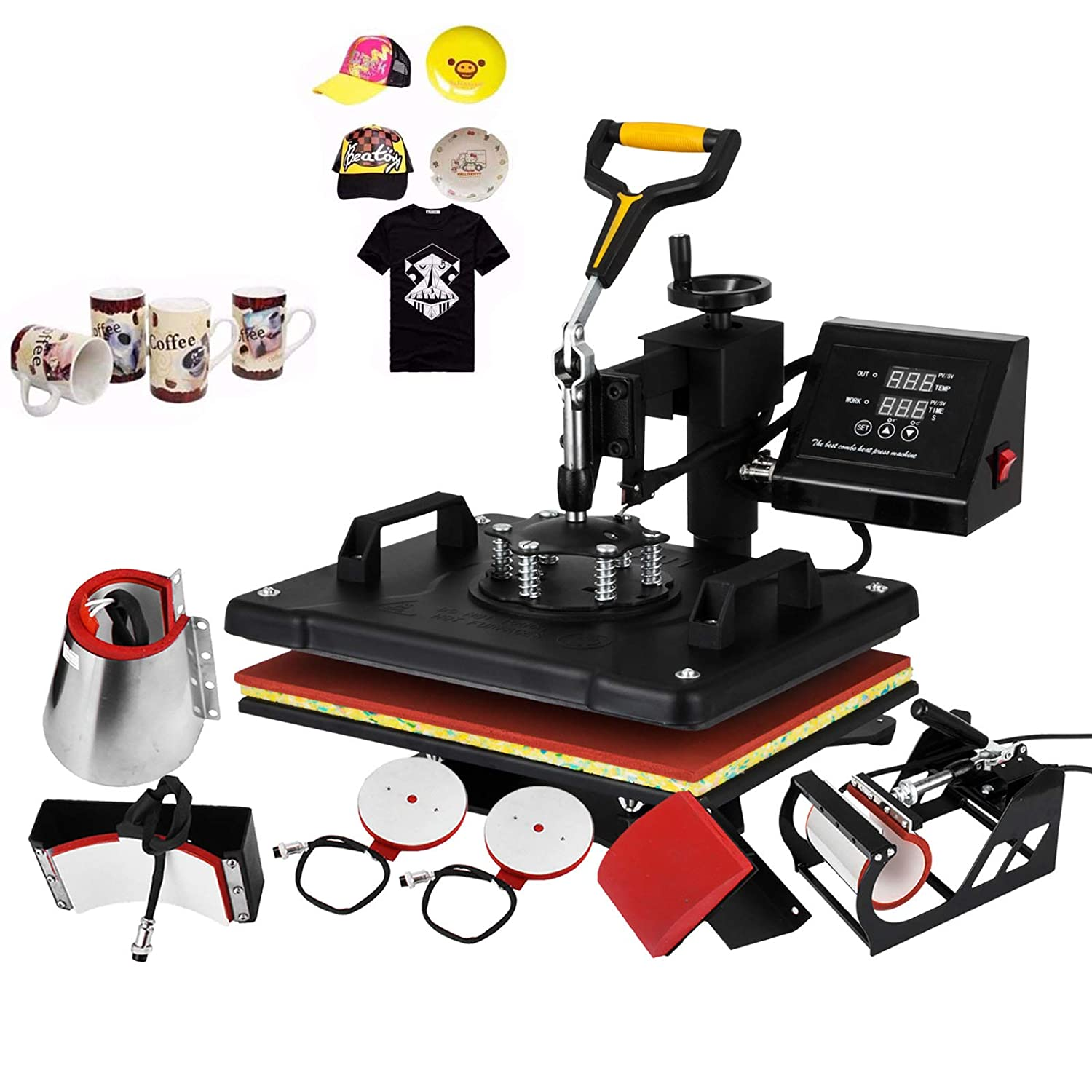 Mophorn Heat Press Machine 12x15 inch T-Shirt Heat Press Transfer Combo Swing-Away Presser Mug Hat Press 8IN1 Digital Multifunction Transfer (8in1 Presser)