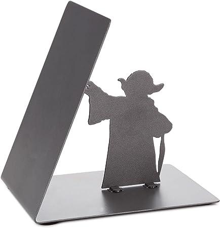 Decoraci/ón De La Oficina De La Escuela En Casa Sujetador Antideslizante Yoda Star Wars En Forma De L KitchenPRO Sujetalibros De Acero Inoxidable Negro