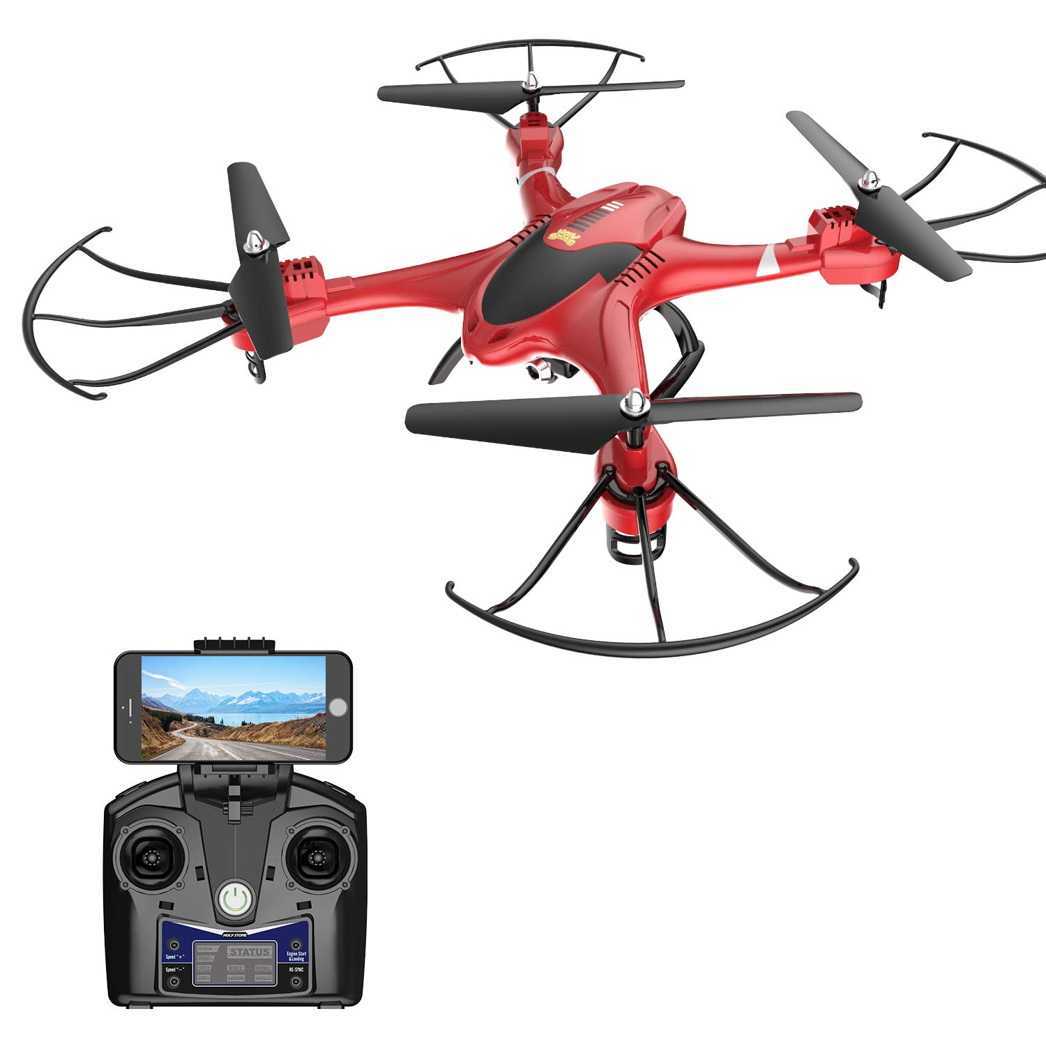 Holy Stone HS200 FPV RC Drone with HD WiFi Camera Live Feed 2.4GHz 4CH 6-Axis Gyro Quadcopter with Altitude Hold, Gravity Sensor and Headless Mode RTF Helicopter, Color Red by Holy Stone