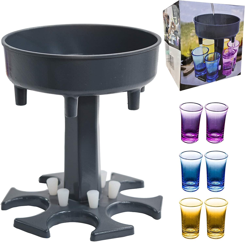 6 Shot Glass Dispenser and Holder with 6 Pcs 1.2oz Acrylic Cup, Drinking Games Wine Dispenser for Bar Cocktail, Dispenser for Filling Liquids Blue Dispenser With Slogan (Black)