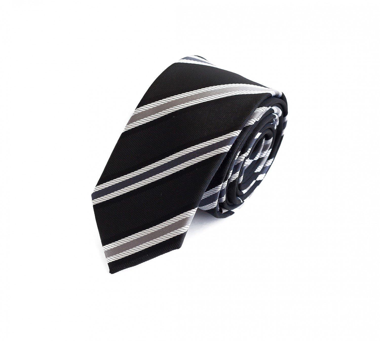Corbata de Fabio Farini en gris negro y blanco a rayas: Amazon.es ...