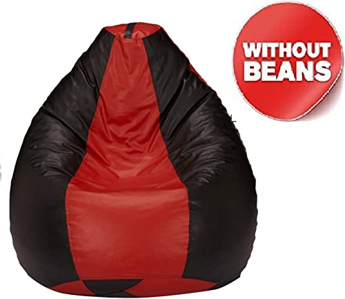 Nexis Sundry XXL Red Black Indoor Outdoor Relaxing High Back Gaming Bean Bag Chair Cover Large Leatherette Furniture Bean Bag Cover Only No Filler