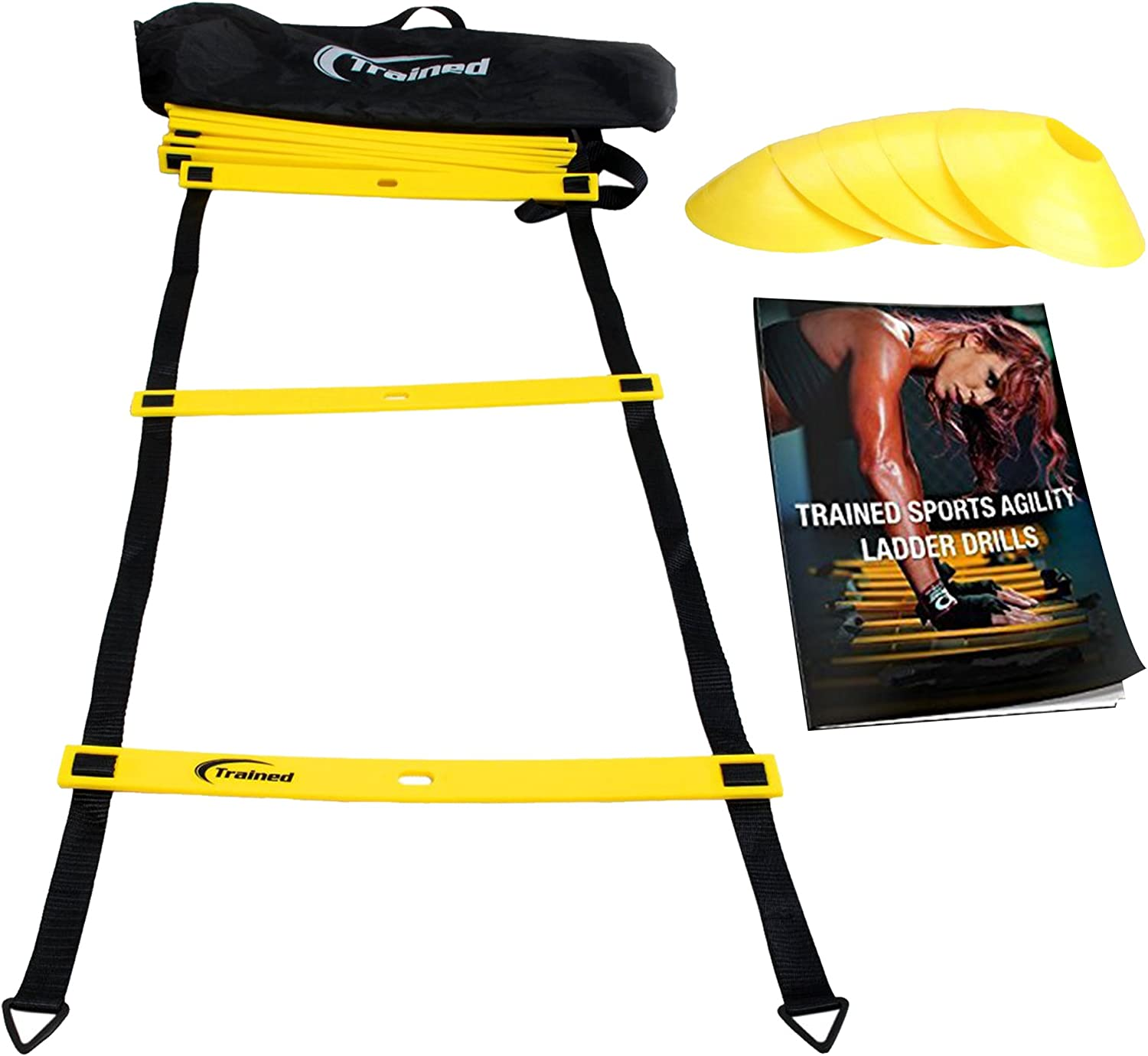 Trained Agility Ladder Bundle 6 Sports Cones, Agility Drills eBook and Carry Case : Sports & Outdoors