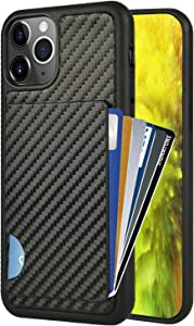 iPhone 11 Pro Max Wallet Case, iPhone 11 Pro Max Card Holder Case, ZVEdeng Credit Card Holder ID Card Clip Case Carbon Fiber Wallet Slim Protective Case Cover for Apple iPhone 11 Pro Max 6.5'' Black