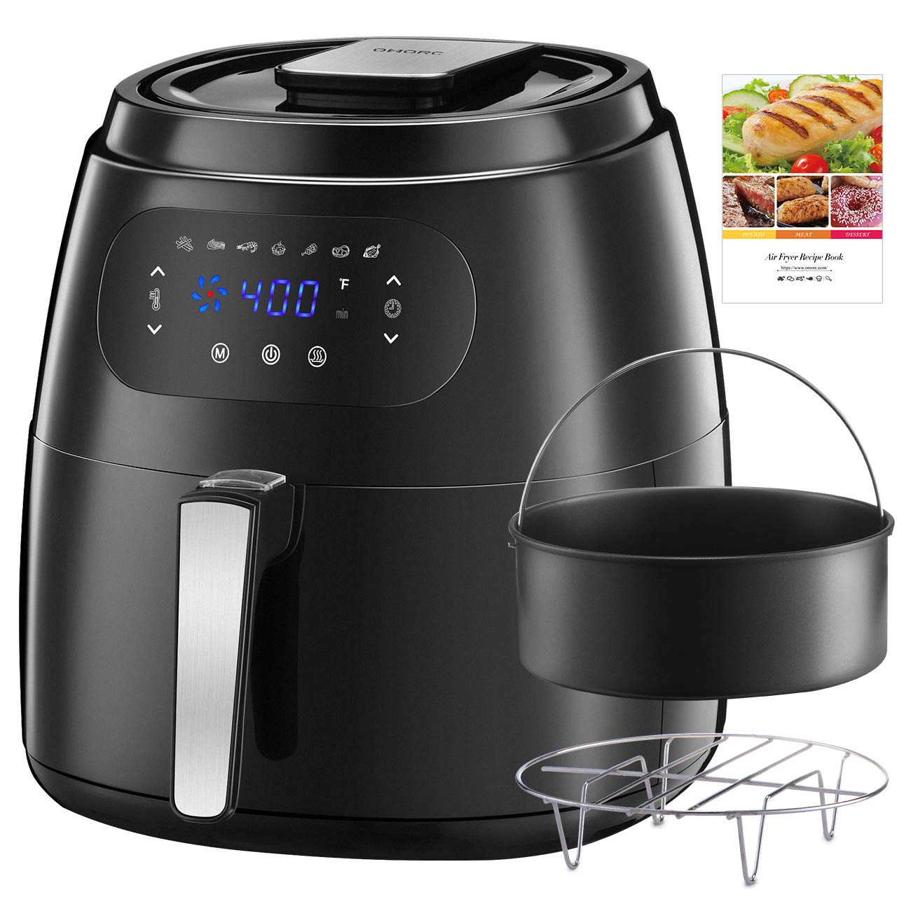 OMORC 7.6QT Large Air Fryer w Capacity Expansion Rack Cake Pan, 1700W Air Fryer XXL Oven w Digital Screen, Hot Air Fryer Cooker w Keep Warm Function, 8-15 modes, 2-Year Warranty, Recipe ME181