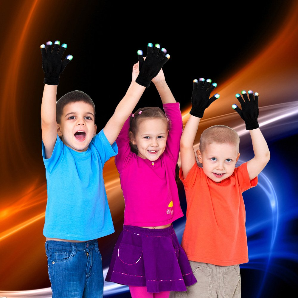 SoKy LED Light Finger Flashing Gloves Party Gift for Kids