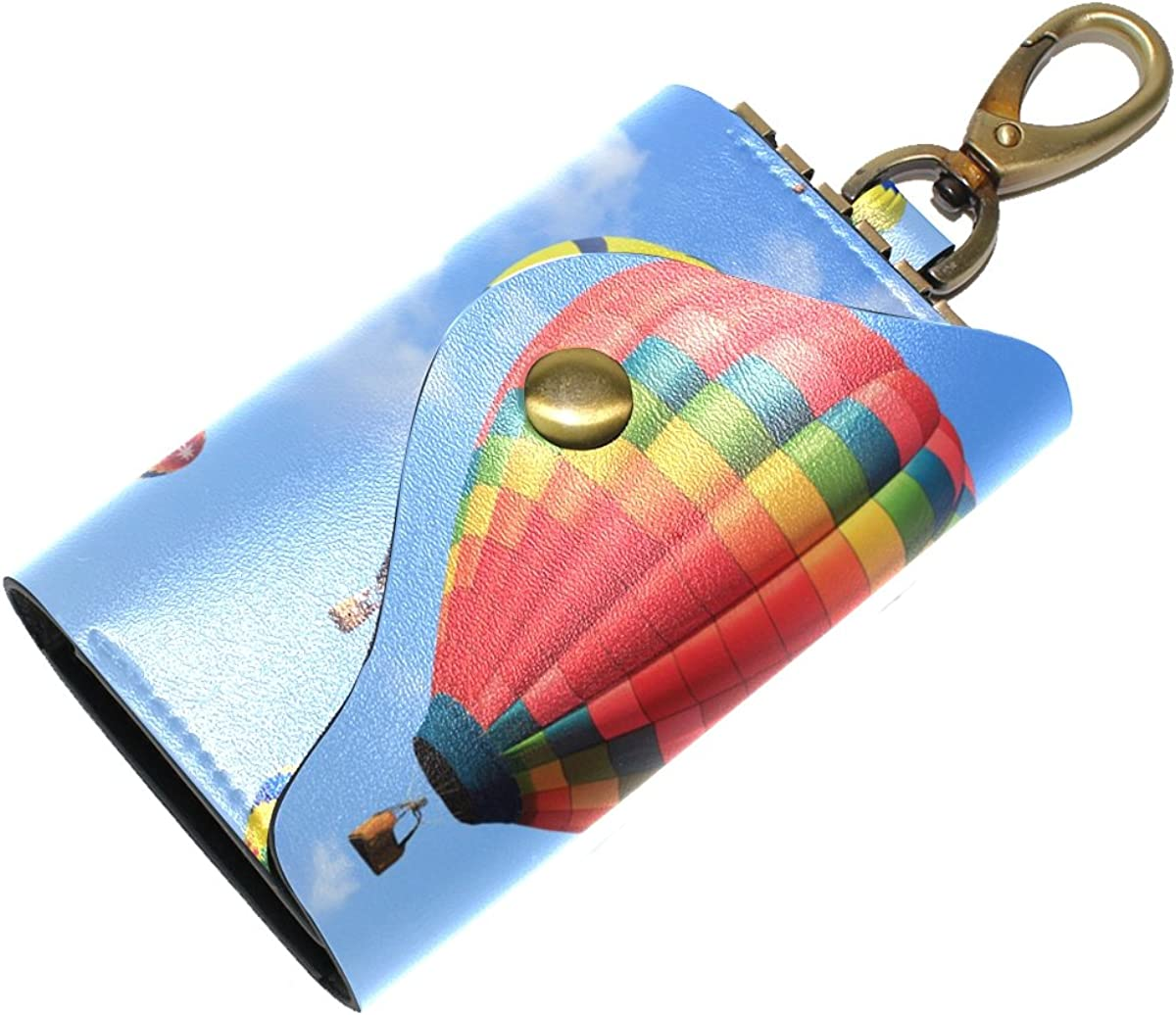 DEYYA Hot Air Balloon Leather Key Case Wallets Unisex Keychain Key Holder with 6 Hooks Snap Closure