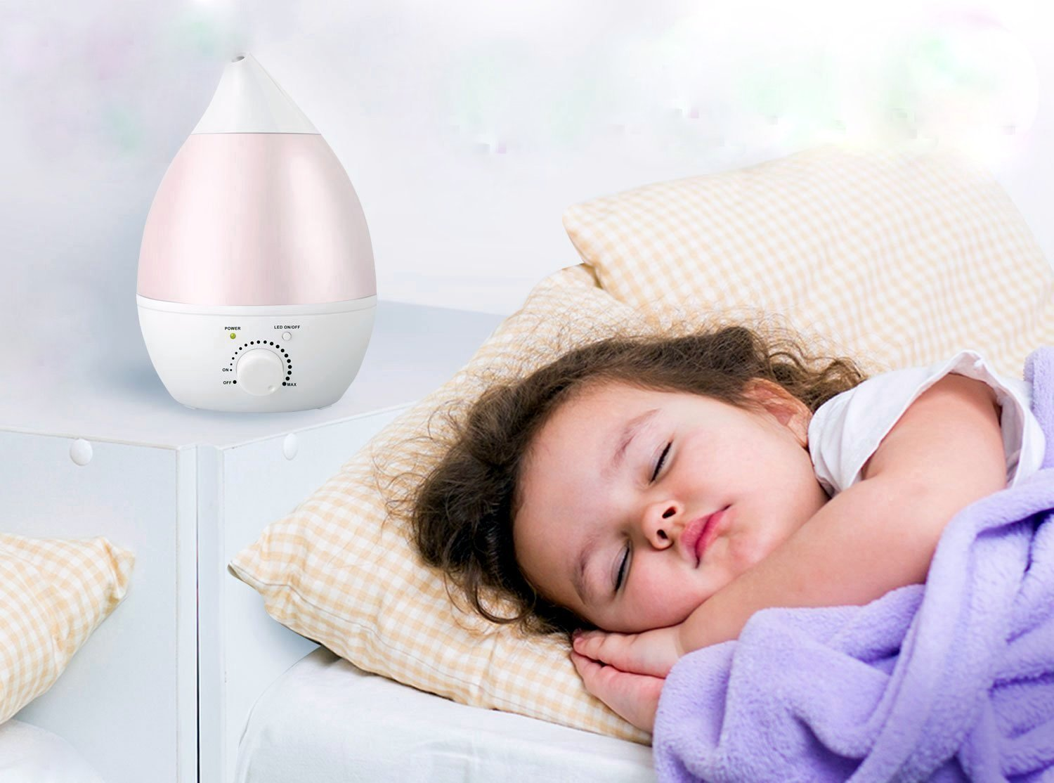 REMEDIES Ultrasonic Cool Mist Humidifier, Aroma Oil Diffuser, Premium Humidifying Unit, Whisper Quiet Operation, 2.8 Liters, 7 Color LED Night Light Function