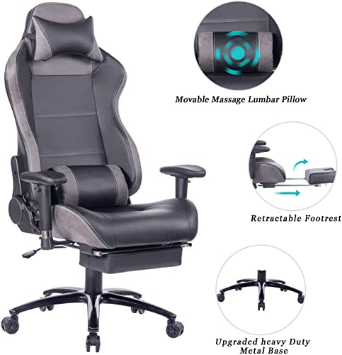 HEALGEN Massage Gaming Chair Office Chair with Heavy Duty Metal Base,Reclining High Back PU Leather PC Computer Racing Desk Chair with Footrest and Lumbar Support 8263 Grey