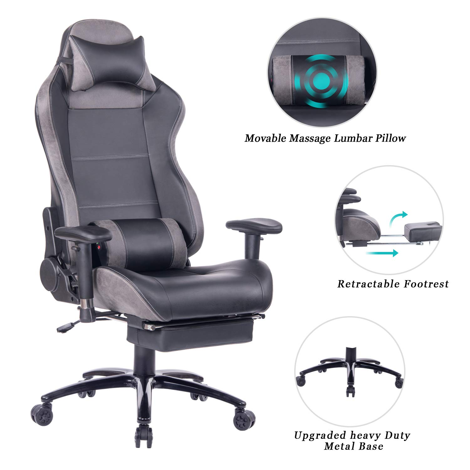 HEALGEN Massage Gaming Office Chair with Heavy Duty Metal Base,PC Computer Racing Gamer Chair Reclining Memory Foam Desk Chair with Footrest and Headrest (8263 Grey)