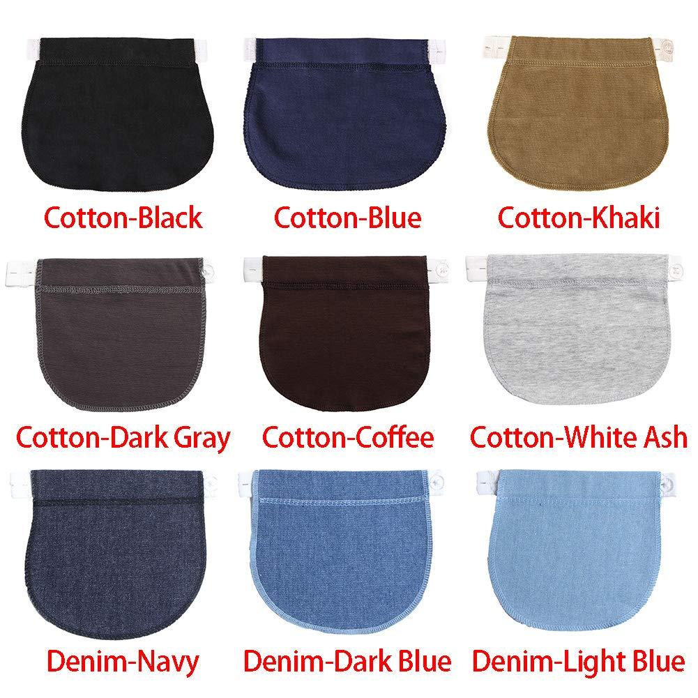 Lionina Ceintures dajustement,Ceintures /Élastique Ajustable,Ceintures dajustement pour Pantalon et Jupe Bandeau de Grossesse Femmes Enceintes Cotton-Blue
