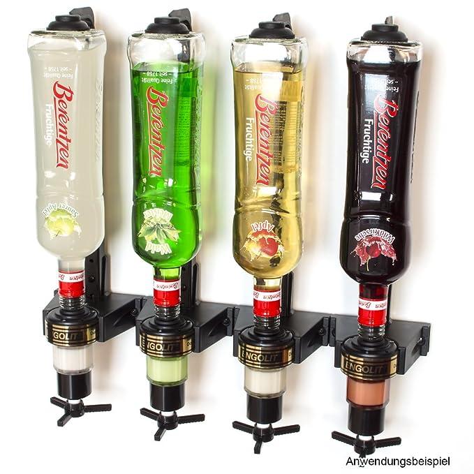 ENGOLIT Bar Butler 2,5 cl Dosierer (Drehkreuz) & Flaschenhalter 4er-Set inkl. Metall-Montageschiene für Wandmontage