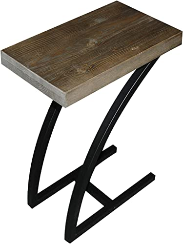 The Lynn C Table End Table Laptop Stand, Solid Wood Top w Black Welded Steel