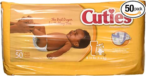 Bag of 50  2 PACK Prevail Cuties Baby Diapers Size 1 8-14 lbs