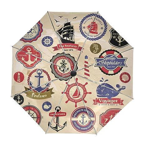 ALAZA Ancla Compás Y Vintage Velero Viajes paraguas de apertura automática Cerca de Protección UV a