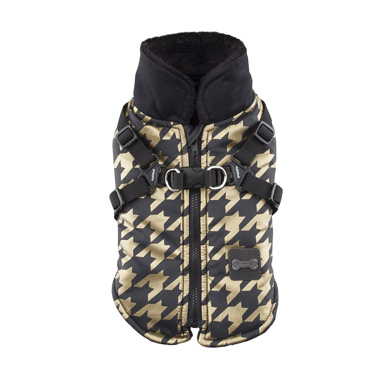 Puppia Dogstooth Winter Fleece Vest, Small, Black