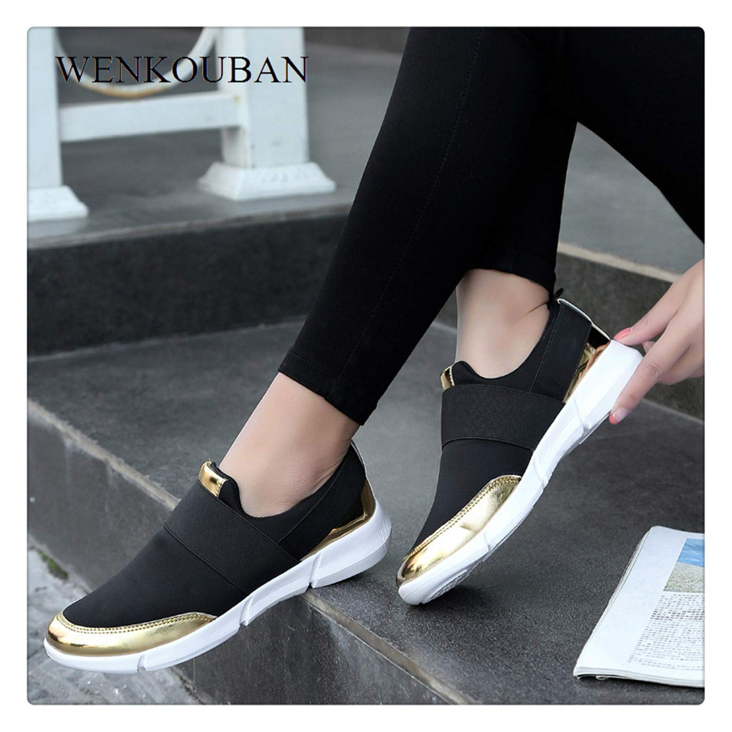 Amazon.com | Women Casual Shoes Female Sneakers Ladies Trainers Slip on Canvas Loafers Breathable Big Size Vulcanized Shoes Tenis Feminino Gray 7 | Fashion ...