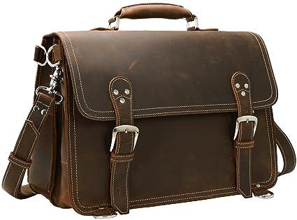 19cd4edd444b Iswee Men's Backpack Briefcase Leather Laptop Case Messenger Bag Satchel  Vintage Computer Bag for Man Large Capacity (Coffee)