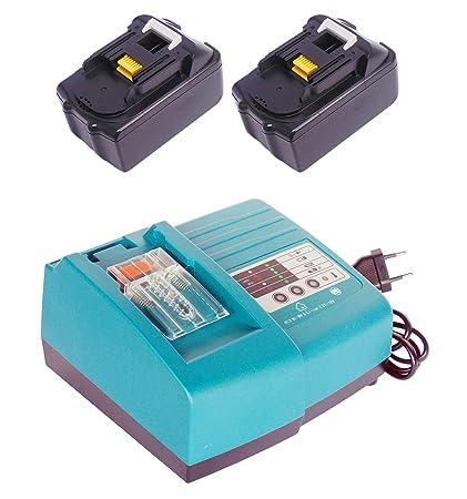 2 piezas de reemplazo para 18V 5.0Ah BL1830 BL1840 BL1850 Makita batería con reemplazar Makita cargadores DC18RA DC18SC DC1803 DC1804 DC14SA