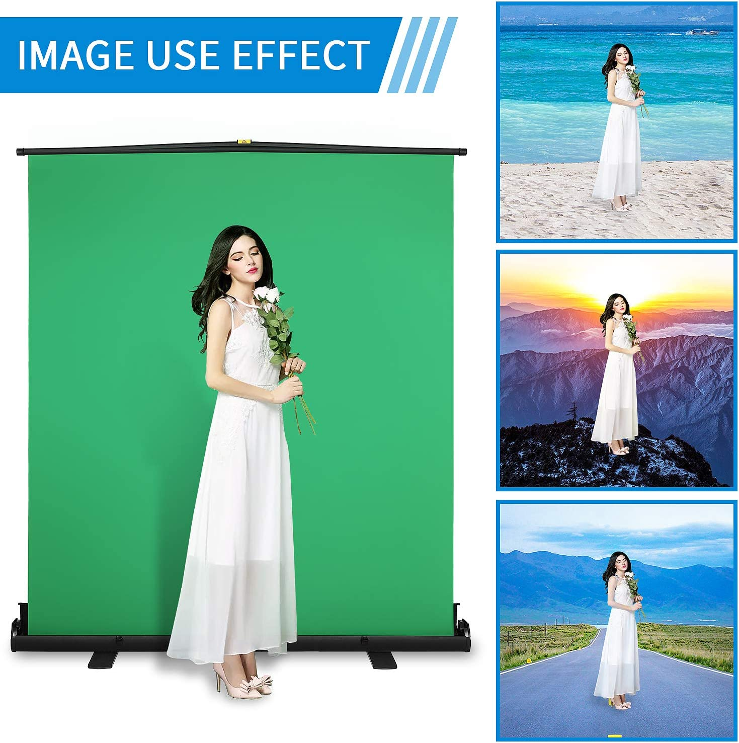 Chroma Key Screen with Wrinkle-Resistant Fabric ShowMaven 80.7 x 58.3 Green Screen Collapsible Chromakey Panel for Background Removal with Auto-Locking Frame Aluminum Hard Case
