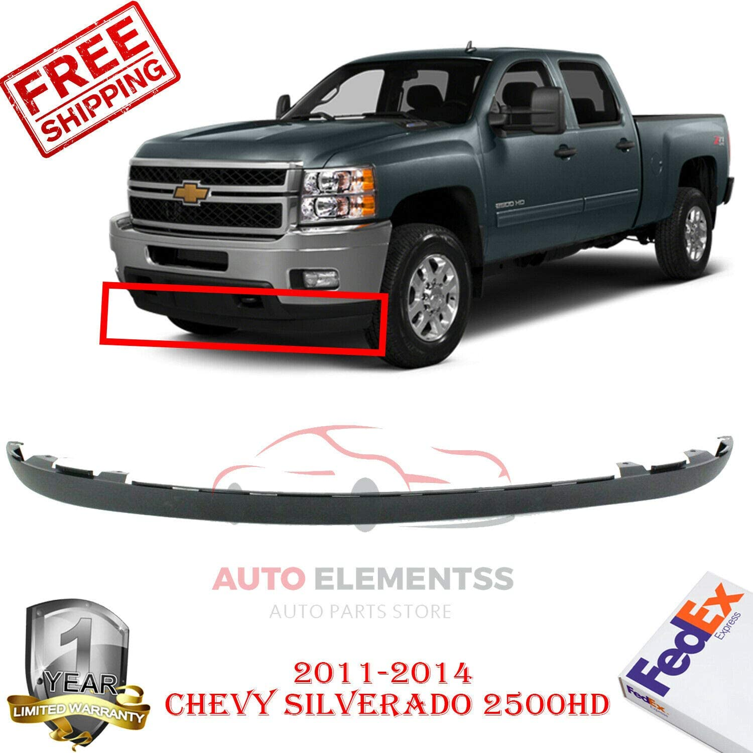 New Front Lower Valance Air Deflector Extension For 2011-2014 Chevrolet Silverado 2500HD 3500HD Textured Direct Replacement Plastic