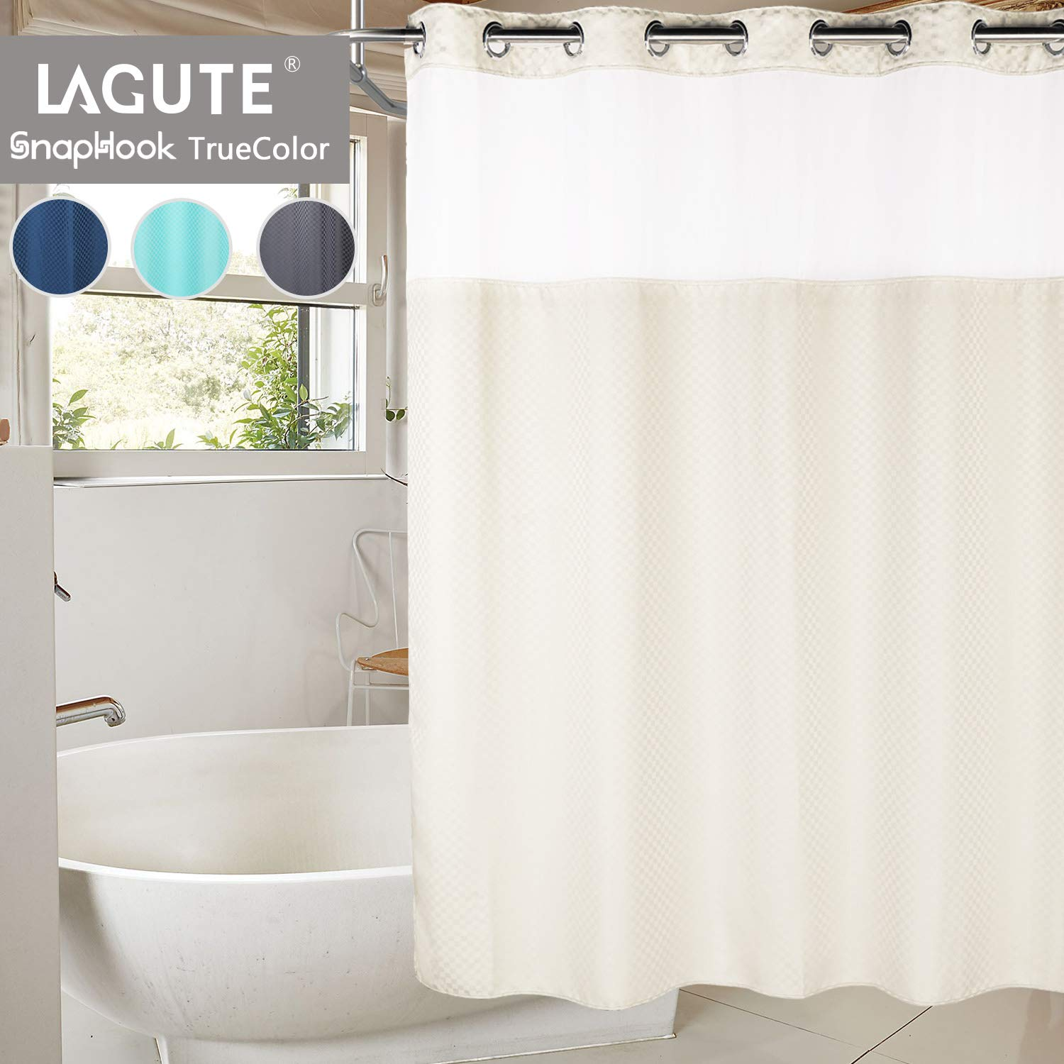 Lagute Snaphook TrueColor Hookless Shower Curtain, Removable Liner | See Through Top | Machine Washable | Beige