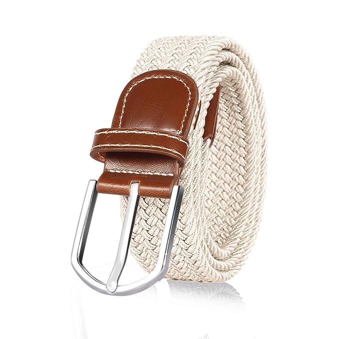 ITIEZY Cintura elastica intrecciata per Uomo e Donna fibbia in pelle nero  blu grigio marrone Casuale fbc6dedbf56